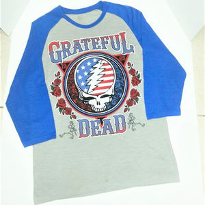 Grateful Dead Tops - GRATEFUL DEAD GREY/BLUE RAGLAN BASEBALL JERSEY L/G